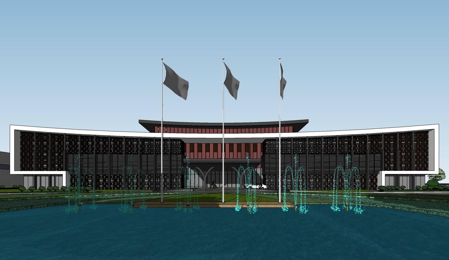 中式厂区办公建筑sketchup整体模型