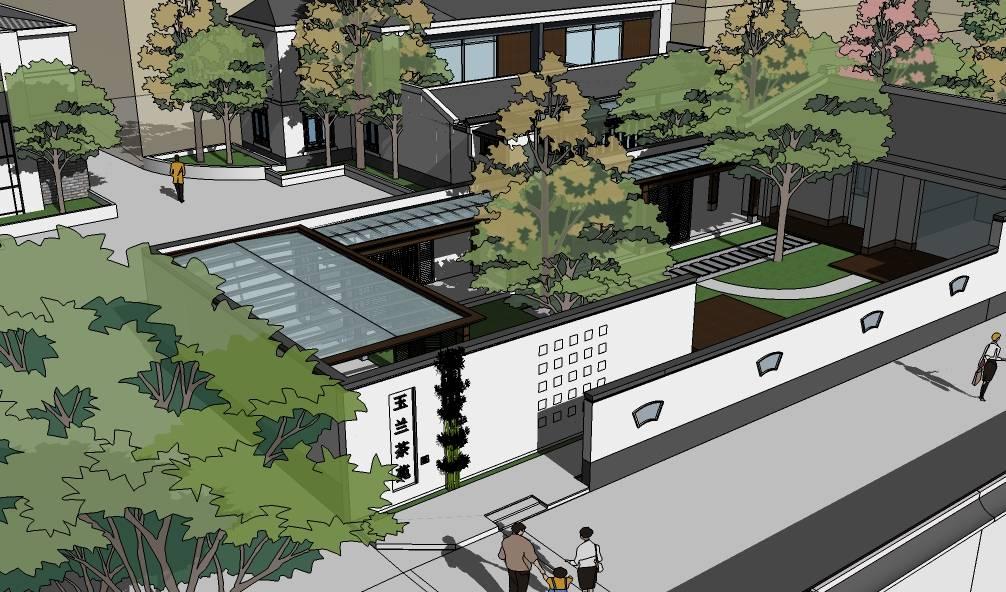 徽派黑白灰中式现代会所建筑sketchup模型