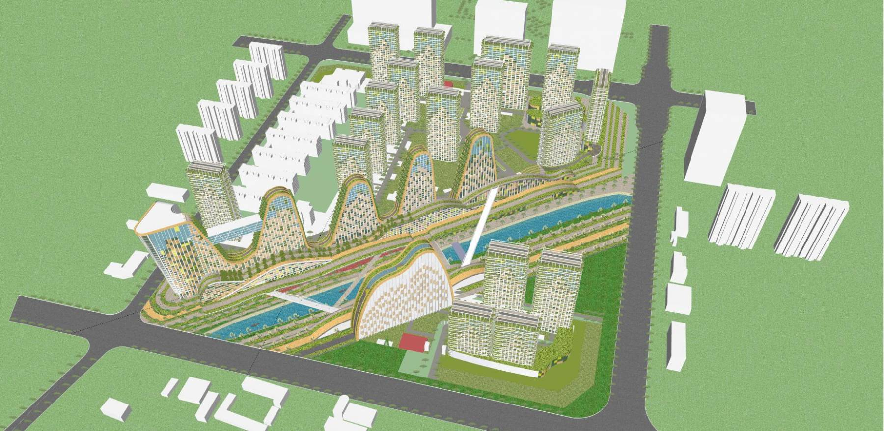 概念化商业办公楼综合体模型