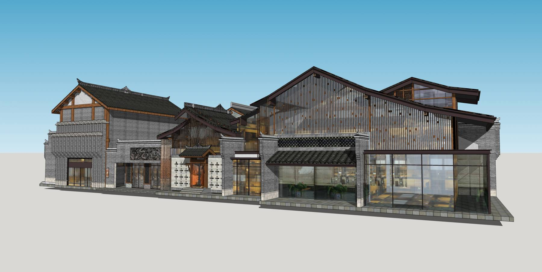 中式商业街楼中式风格临街商铺
