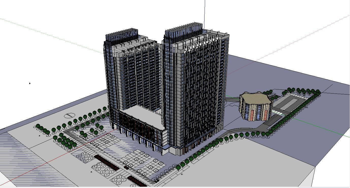 公建办公高层现代双塔高层正方形