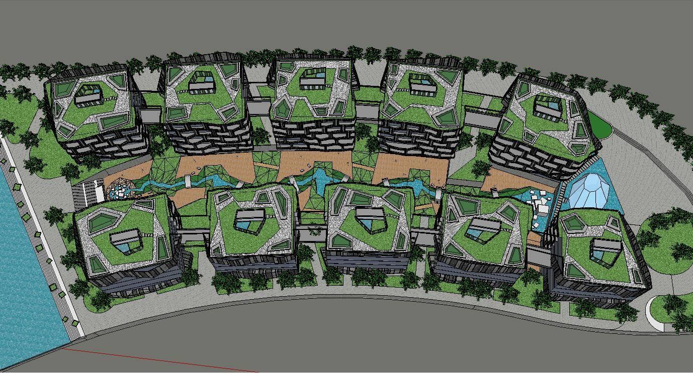 公建办公现代多层科技园创意园企业园长方形
