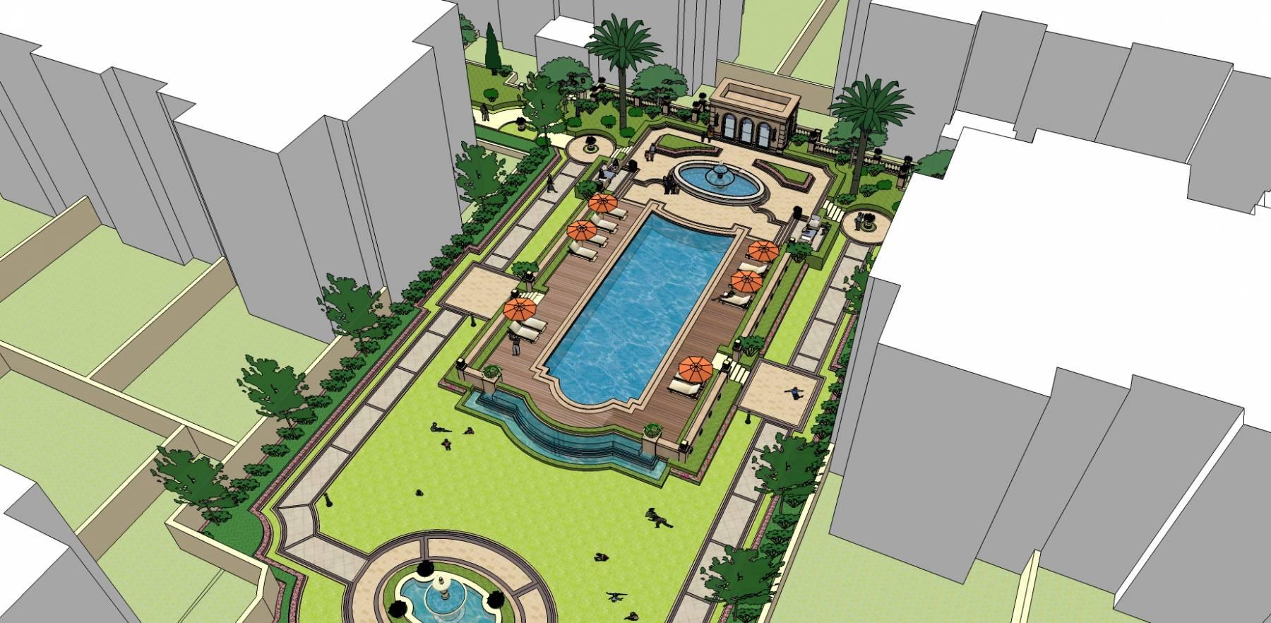 游泳池 小区 景观 12131