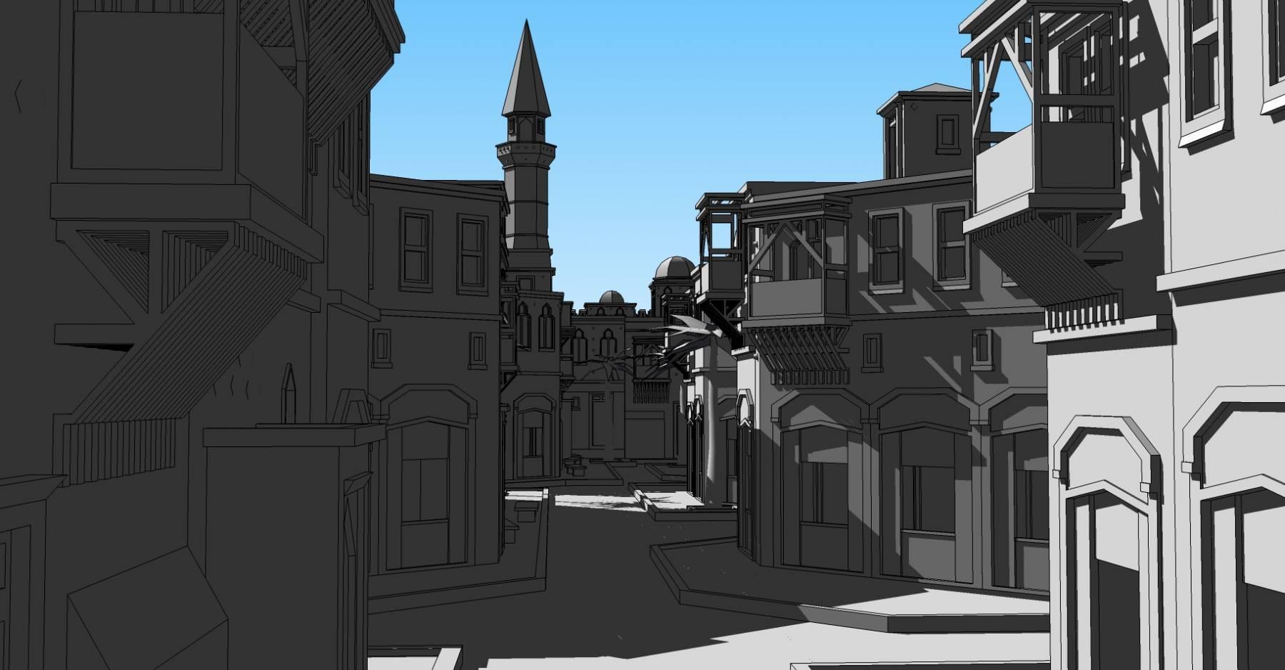 中世纪 阿拉伯 风格 城市 城堡 12213
