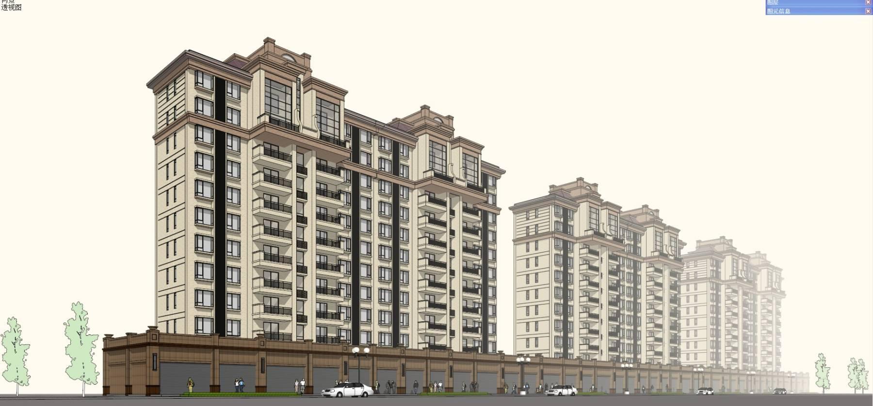 欧式高层住宅公寓及商业01