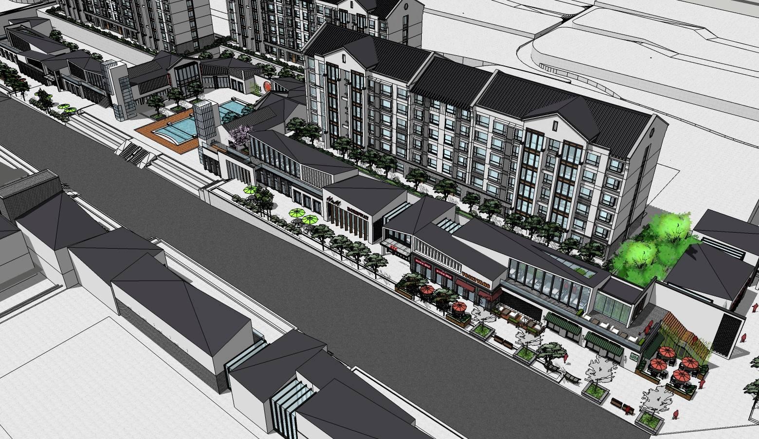 中式住宅小区及沿街商业建筑sketchup模型
