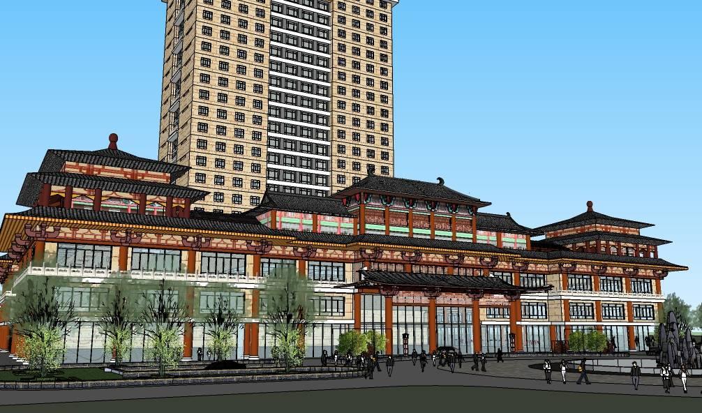 汉唐风酒店建筑方案SketchUp模型