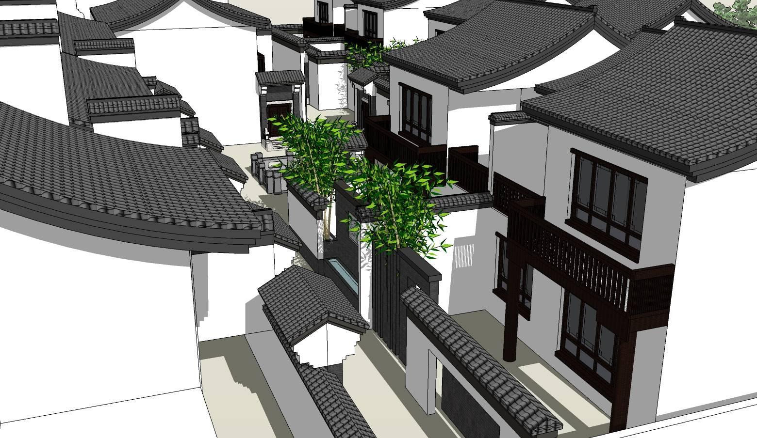 中式风格黑白灰徽派建筑特色民俗住宅建筑sketchup模型