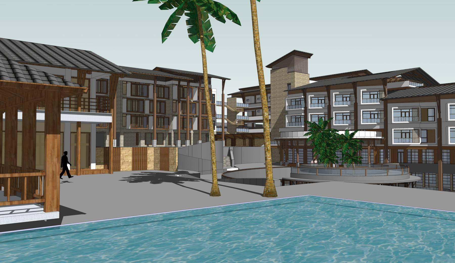 多层度假坡地中式会所度假酒店建筑sketchup模型