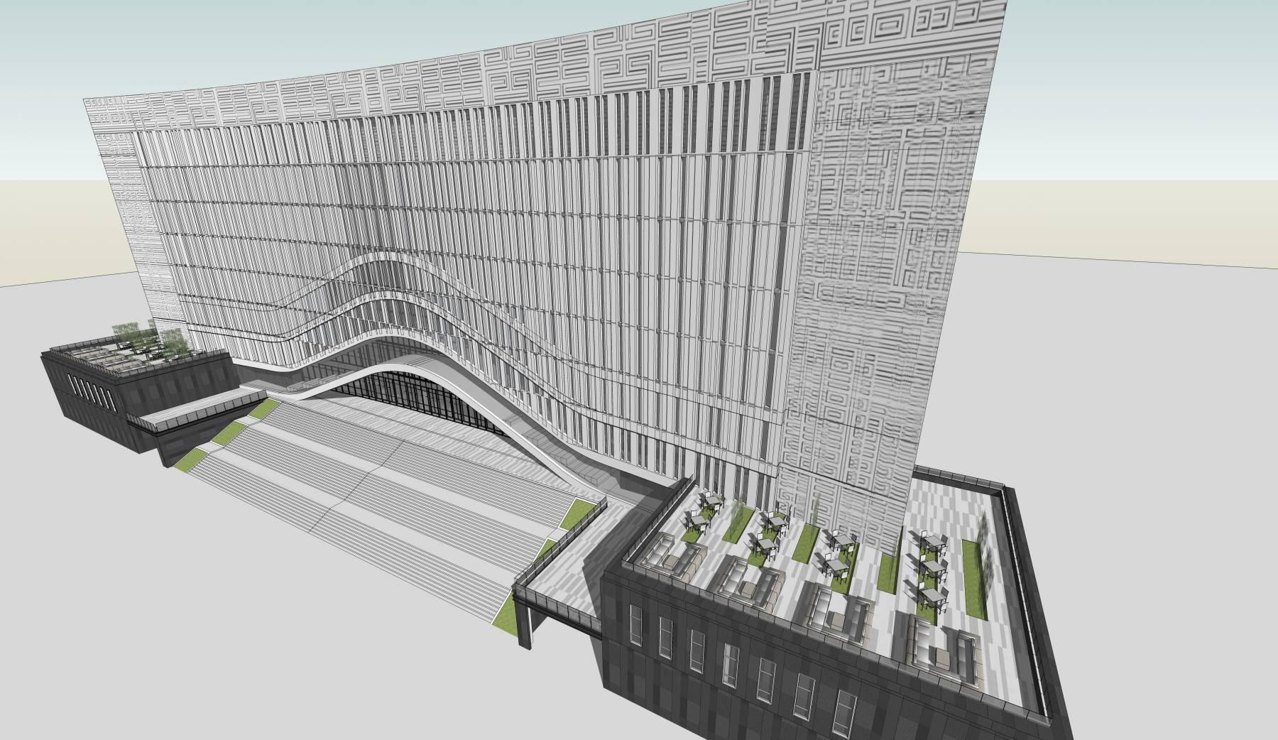 现代风格大学图书馆建筑sketchup模型