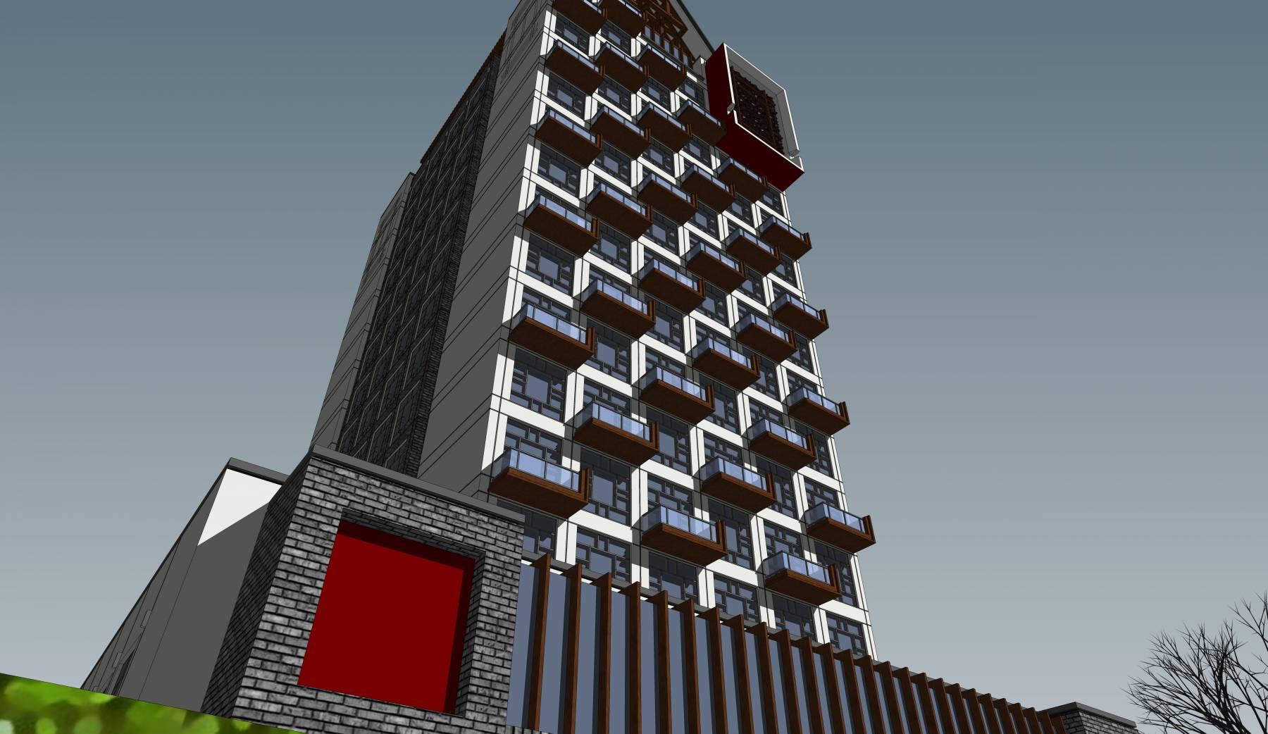 中式风格高层经济酒店建筑sketchup模型