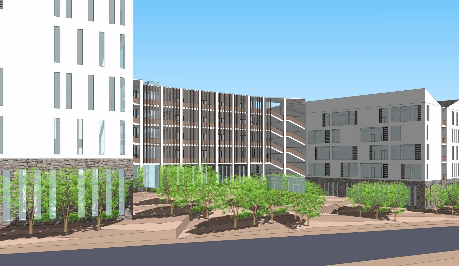 现代中式风格五层学校建筑sketchup模型