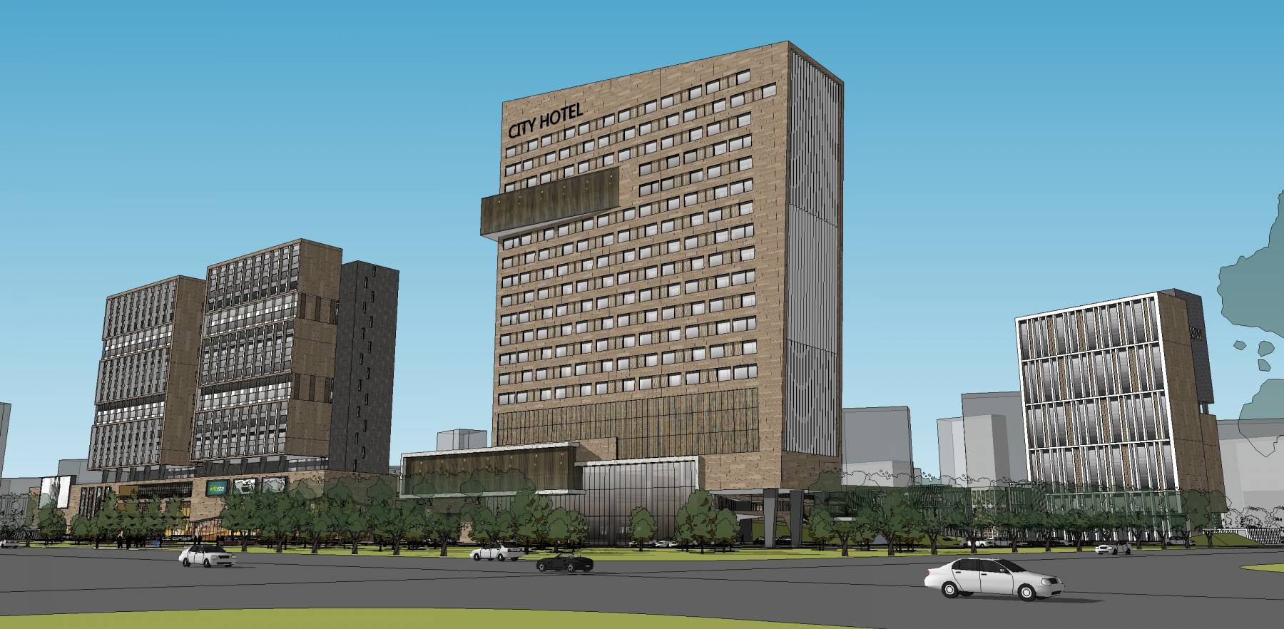 现代商业综合体高层酒店住宅su