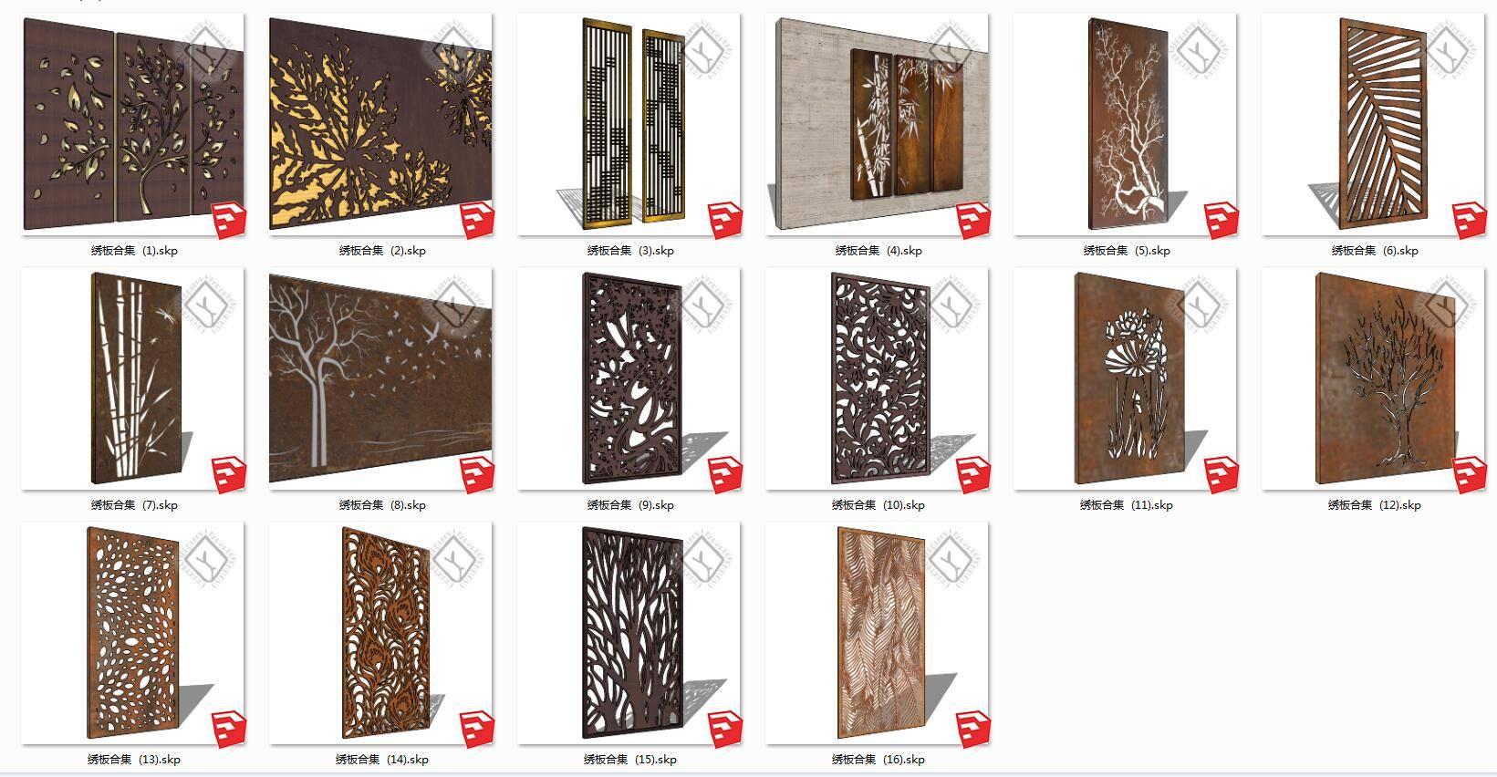 锈板耐候板钢板景墙合集su