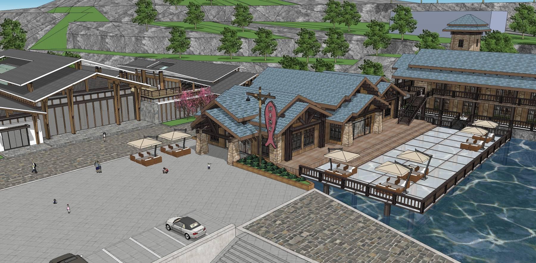 海边餐厅会所酒店改造su精模带地形