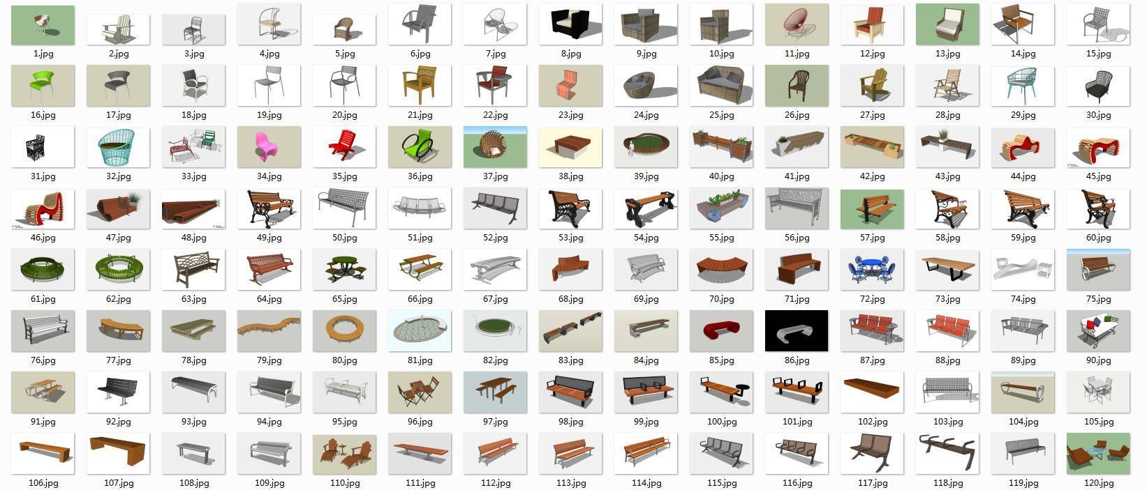 200多个景观座椅su模型