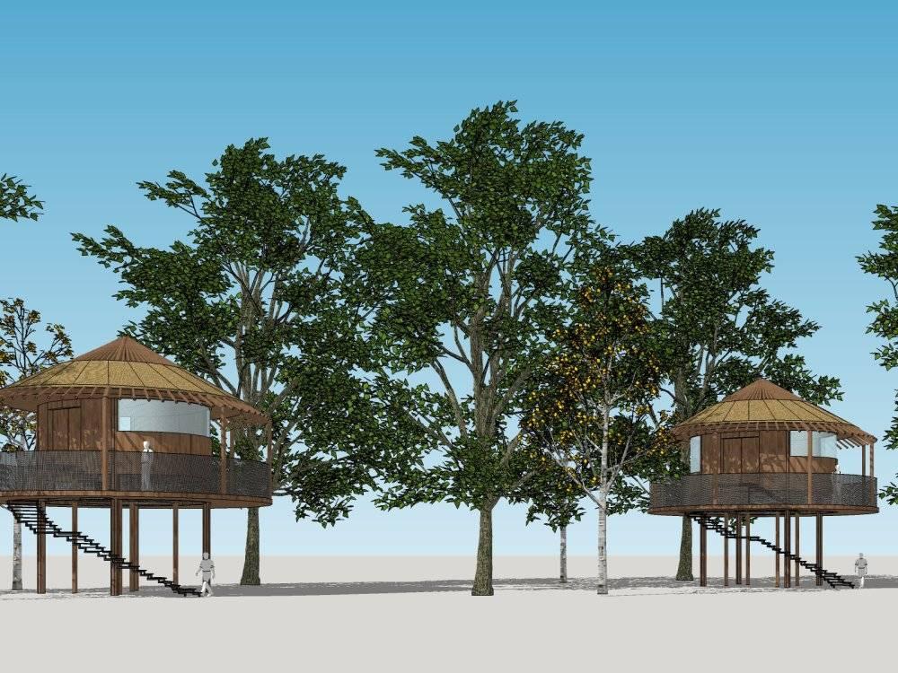 海滩休息建筑小品 亭子