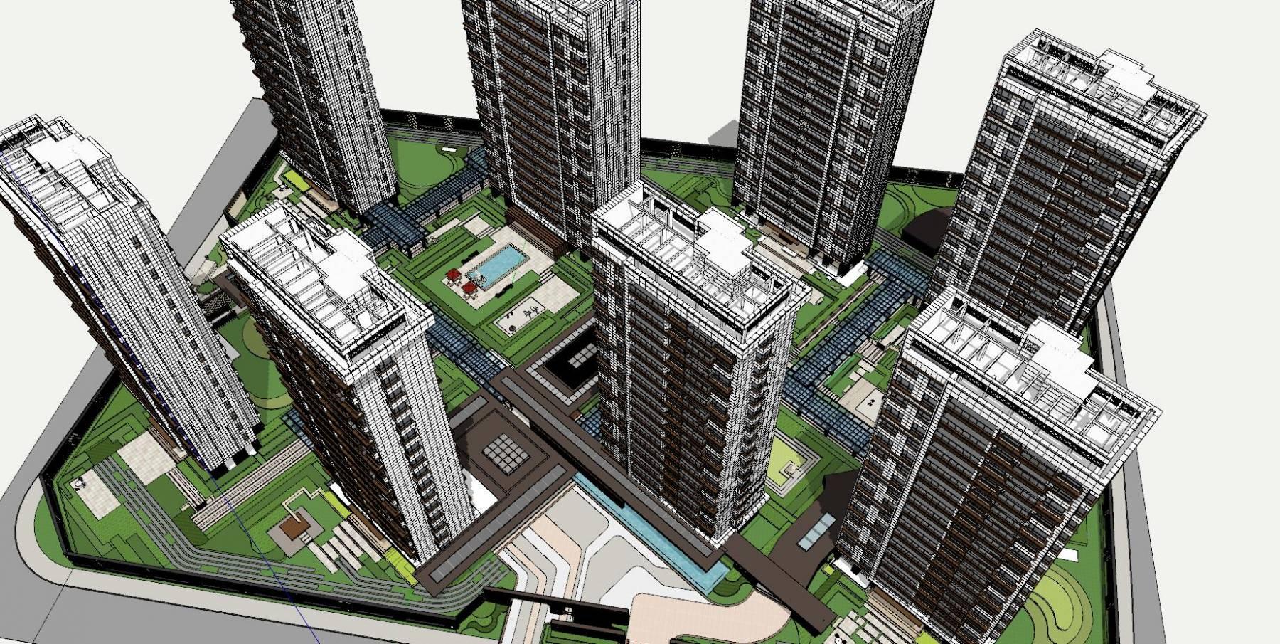 高层住宅小区,现代风格小区su