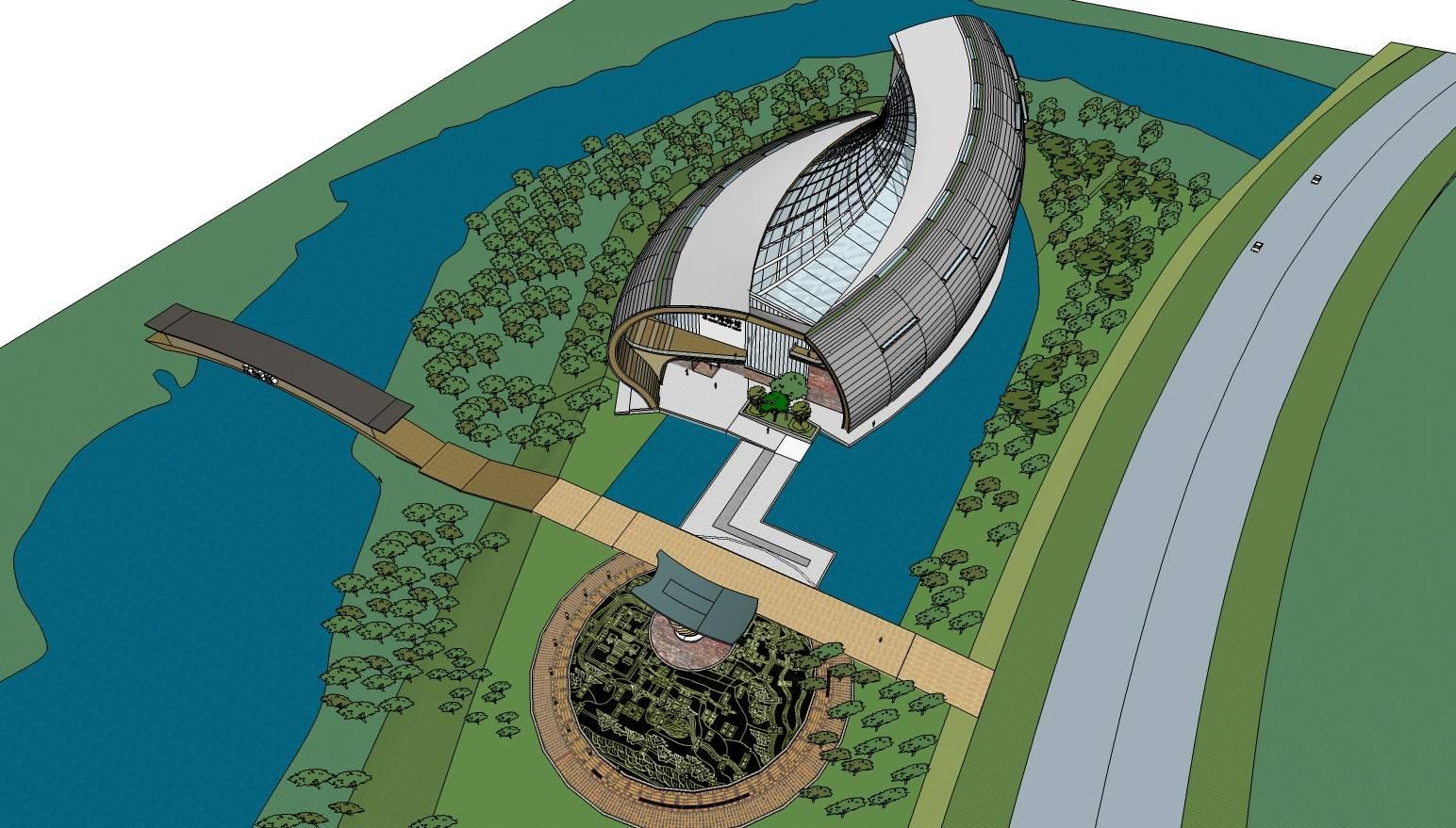弧形异形现代风格博物馆建筑模型