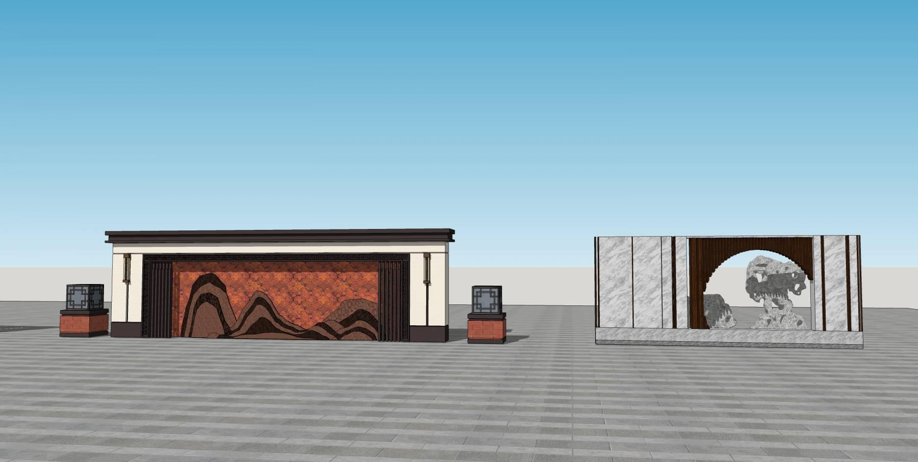 廊架&&景墙中式