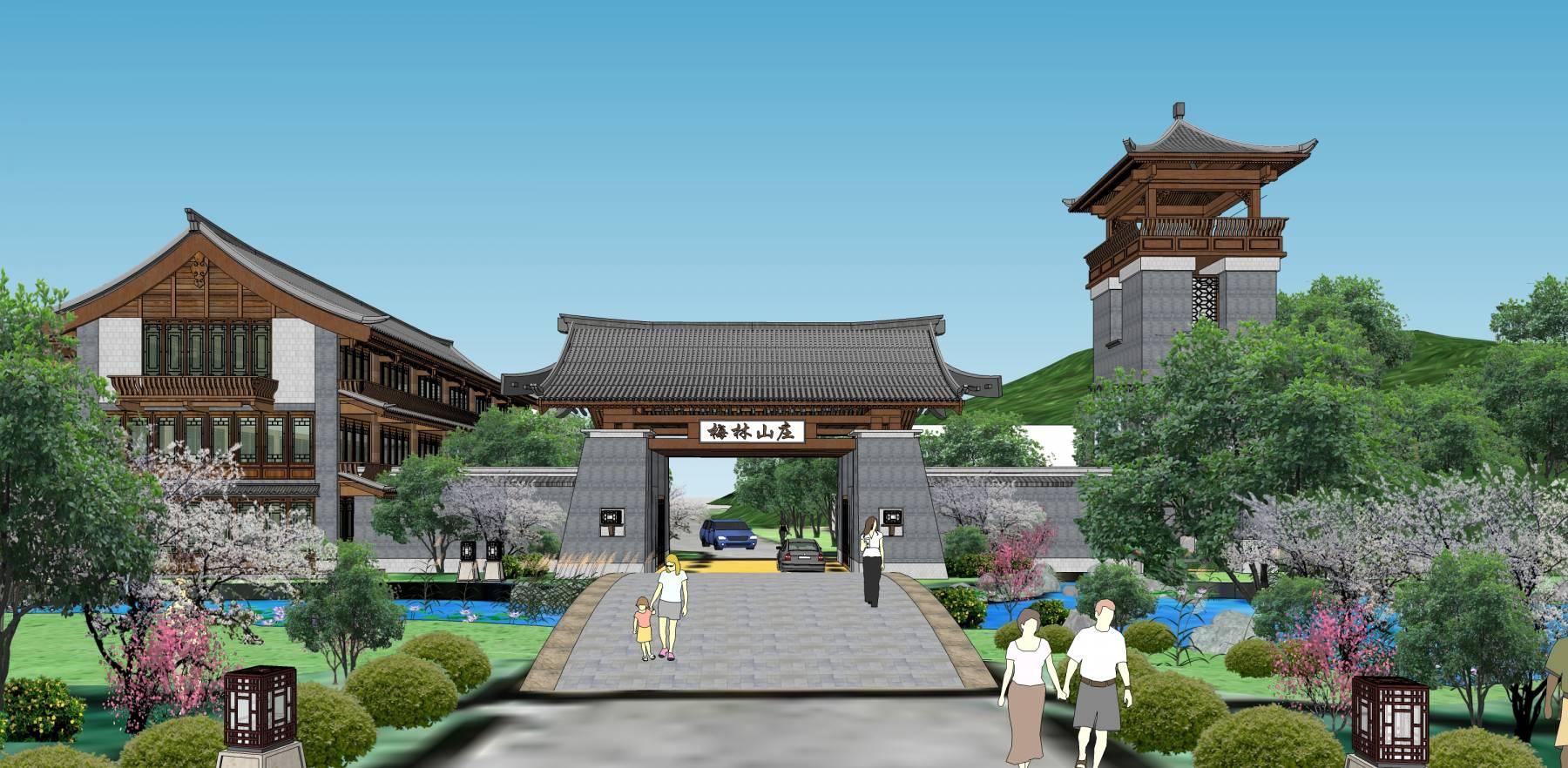 中式度假山庄度假酒店公园入口休闲农庄入口景观会所入口su