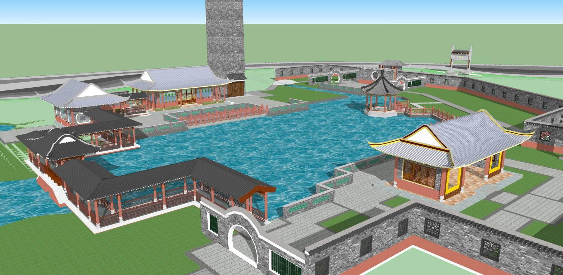 中式园林景观公园景观中式建筑suu