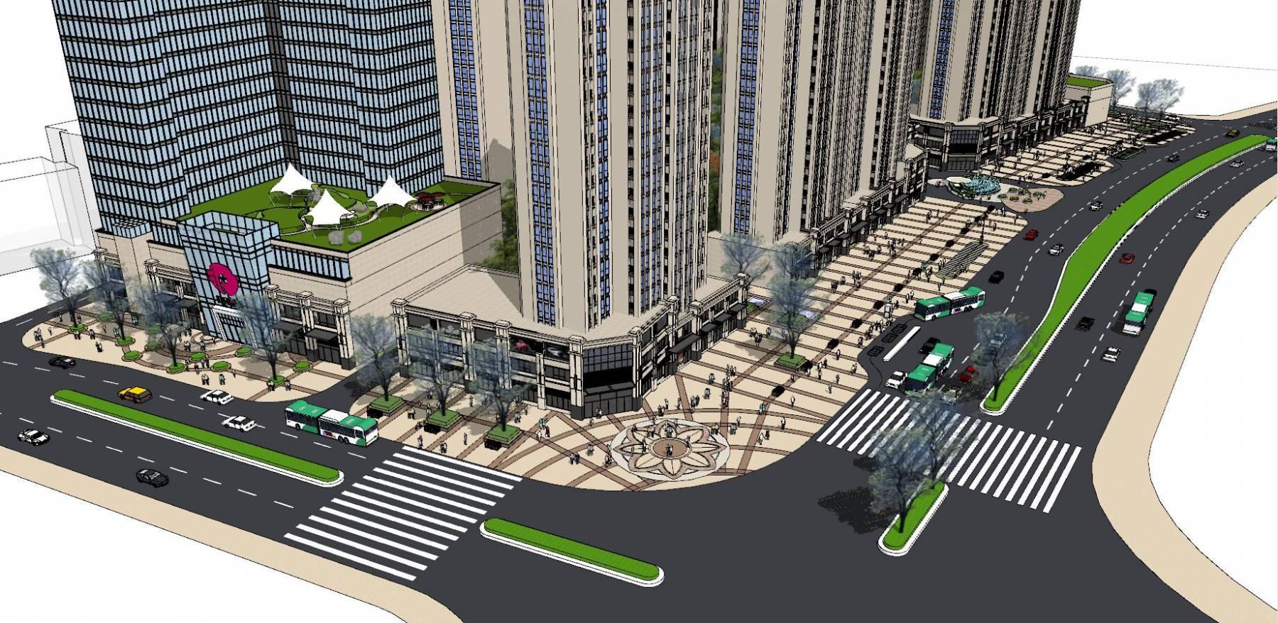 artdeco小區帶臨街商業鋪面建筑居住模型