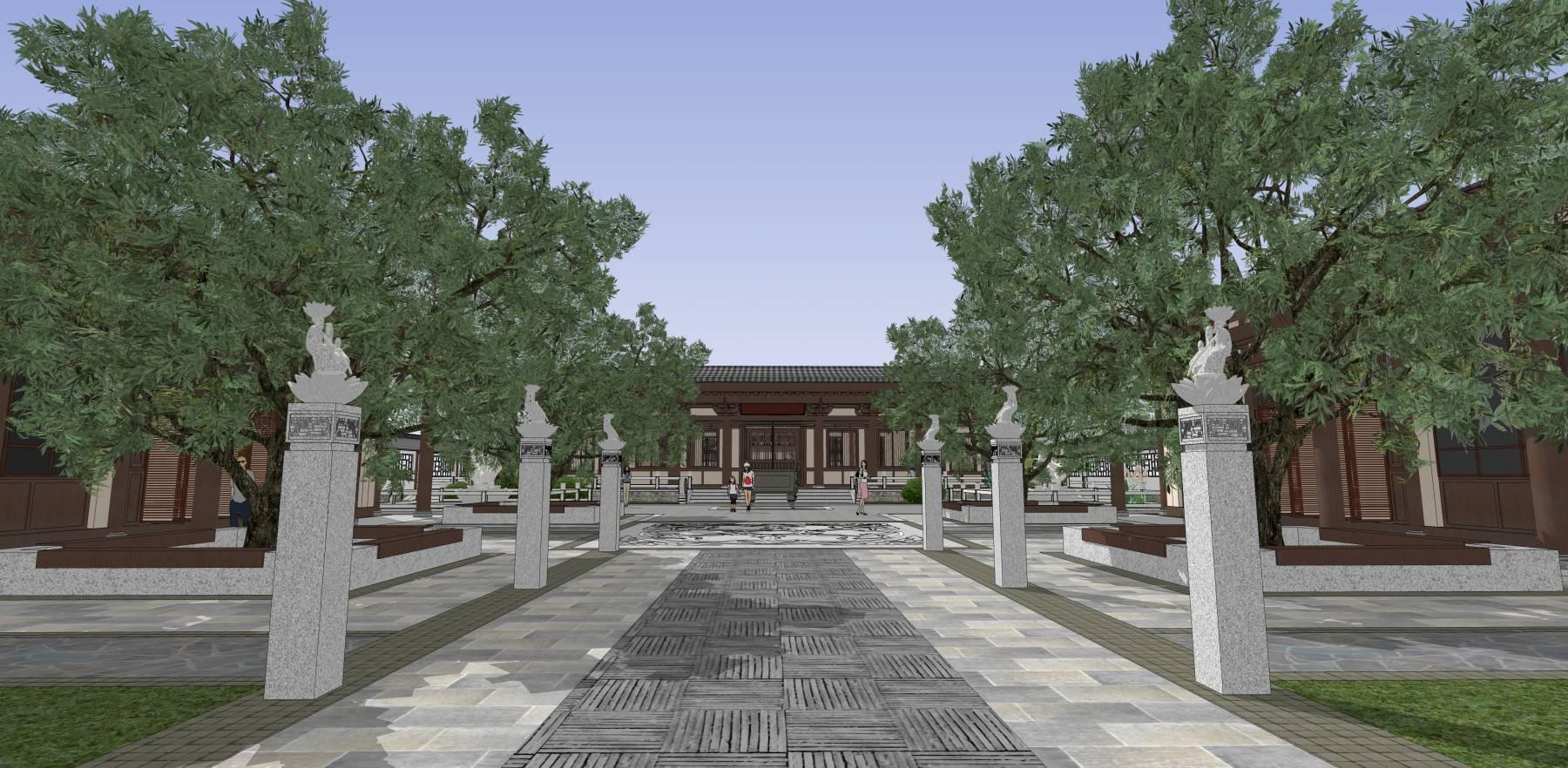 中式四合院禅院中式园林古建公园仿古建筑su
