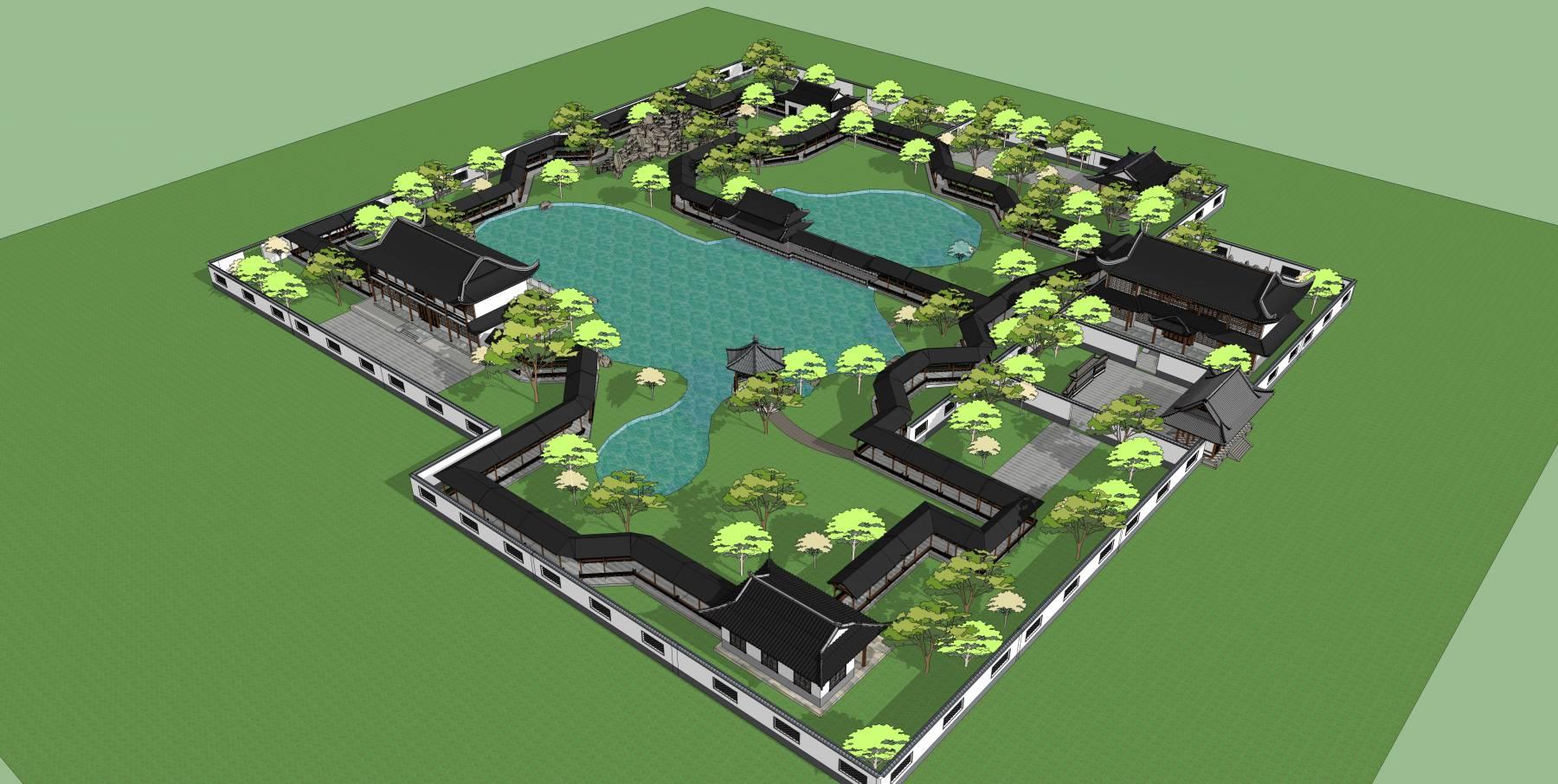 中式仿古建筑古建公园传统园林中式园林su