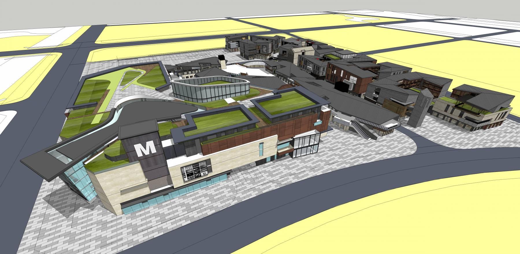 新城规划商业中心商业集中区域商业建筑su
