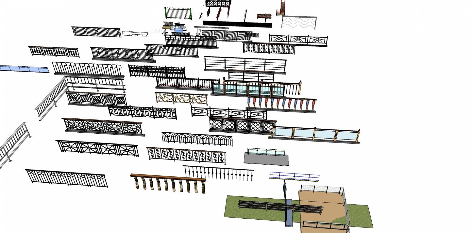 各种精美栏杆sketchup模型