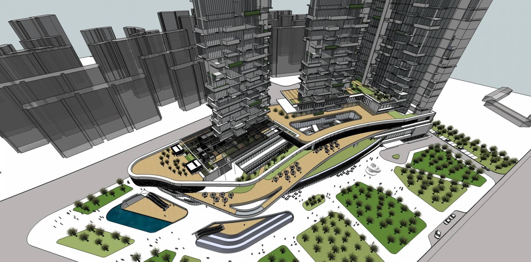 现代风格高层商业写字楼办公楼建筑su模型