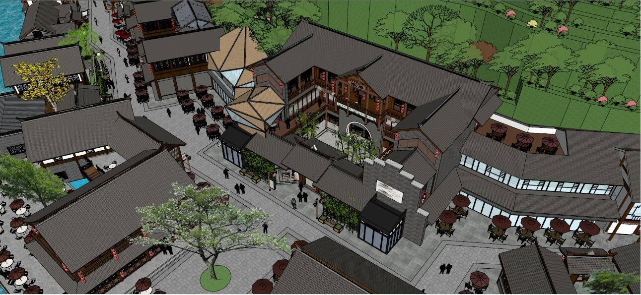 山地中式酒吧街+商业中标方案大场景精细模型