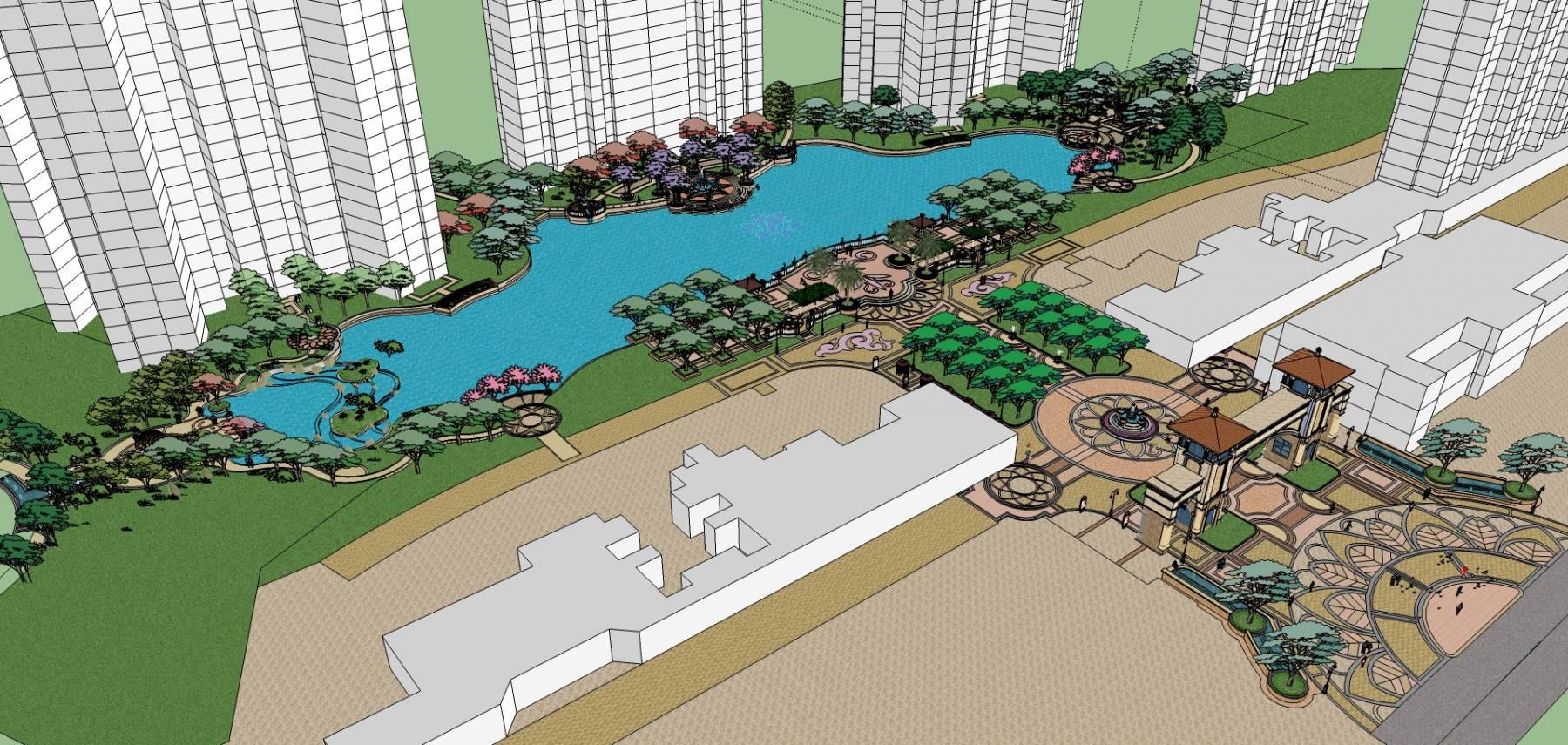 景观完整模型库欧式恒大风格小区凤凰城