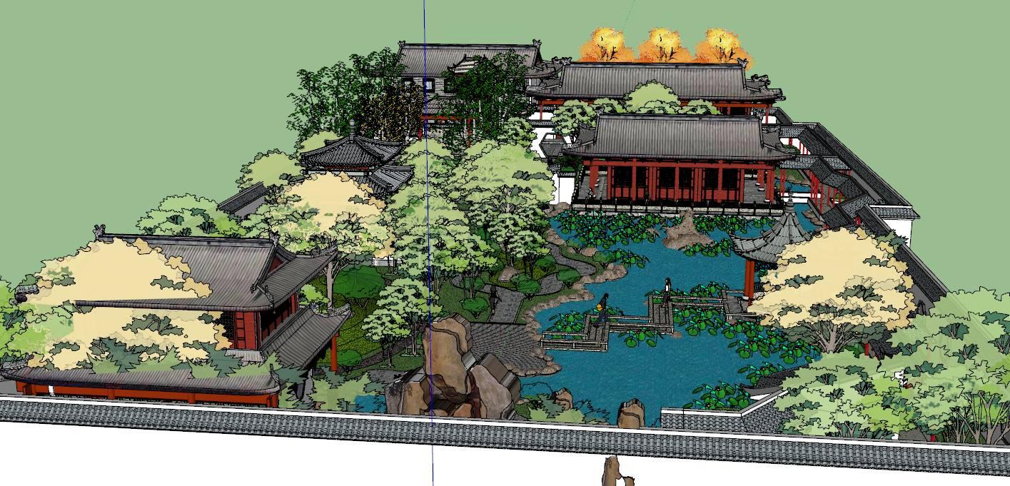 中式风格荷塘 庭院景观