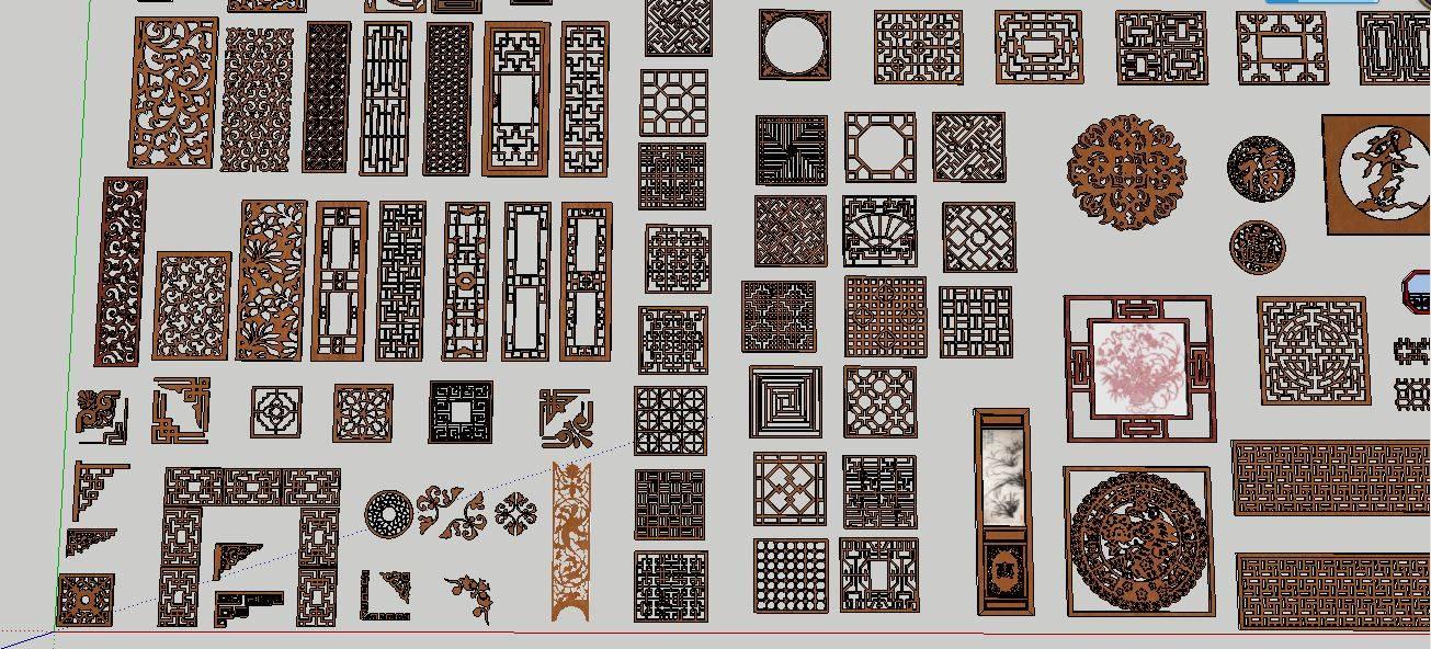 中式 雕花 門窗