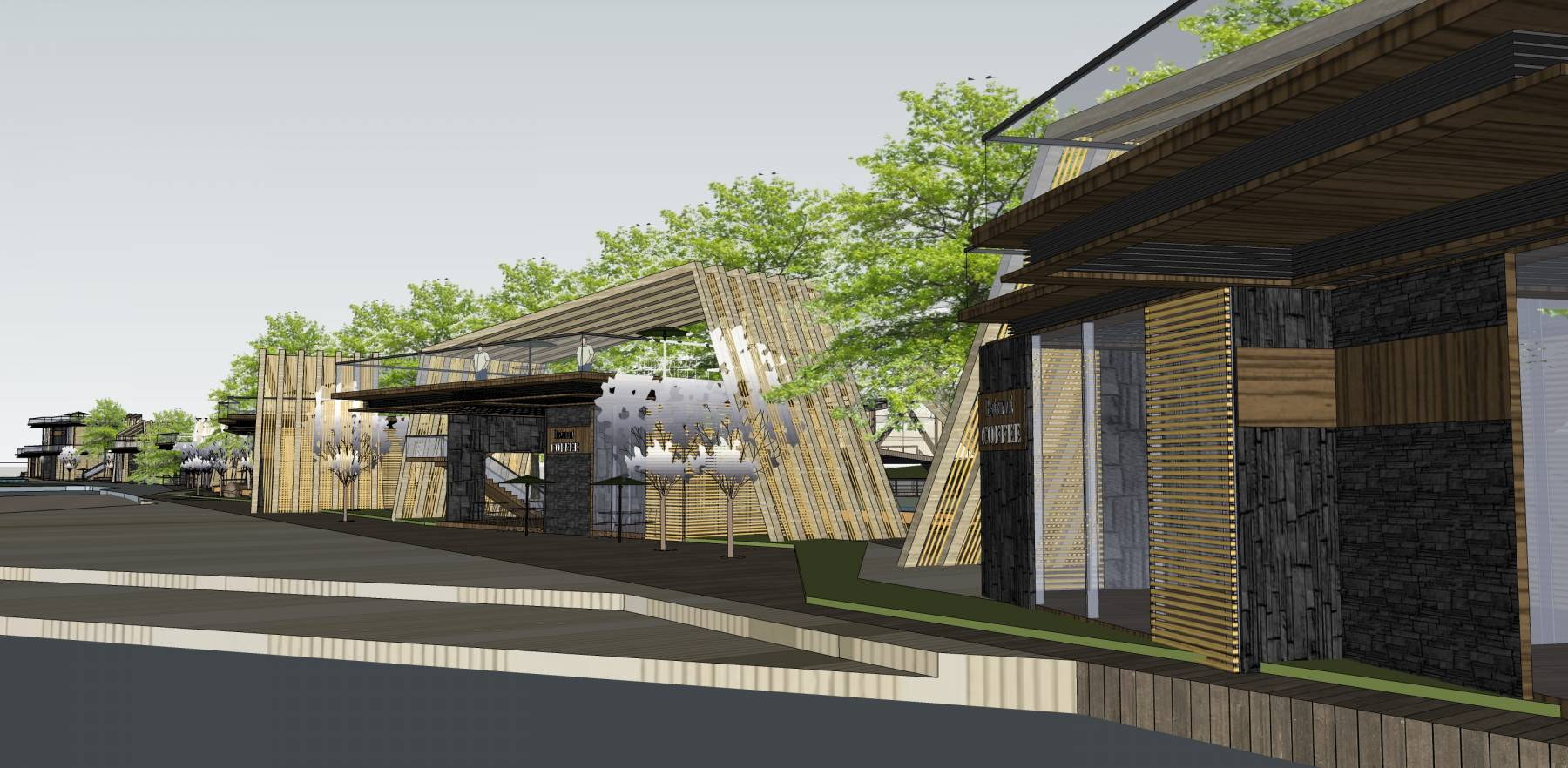 超精细独栋商业步行街餐饮景观模型
