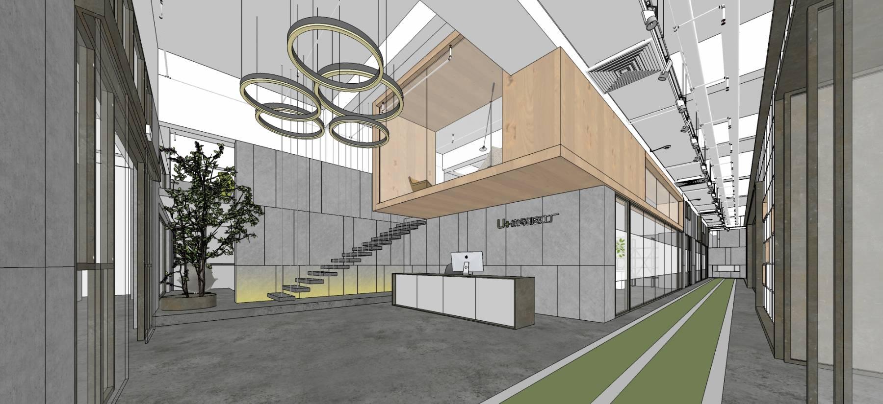 工业LOFT创客中心室内大场景精致推敲模型