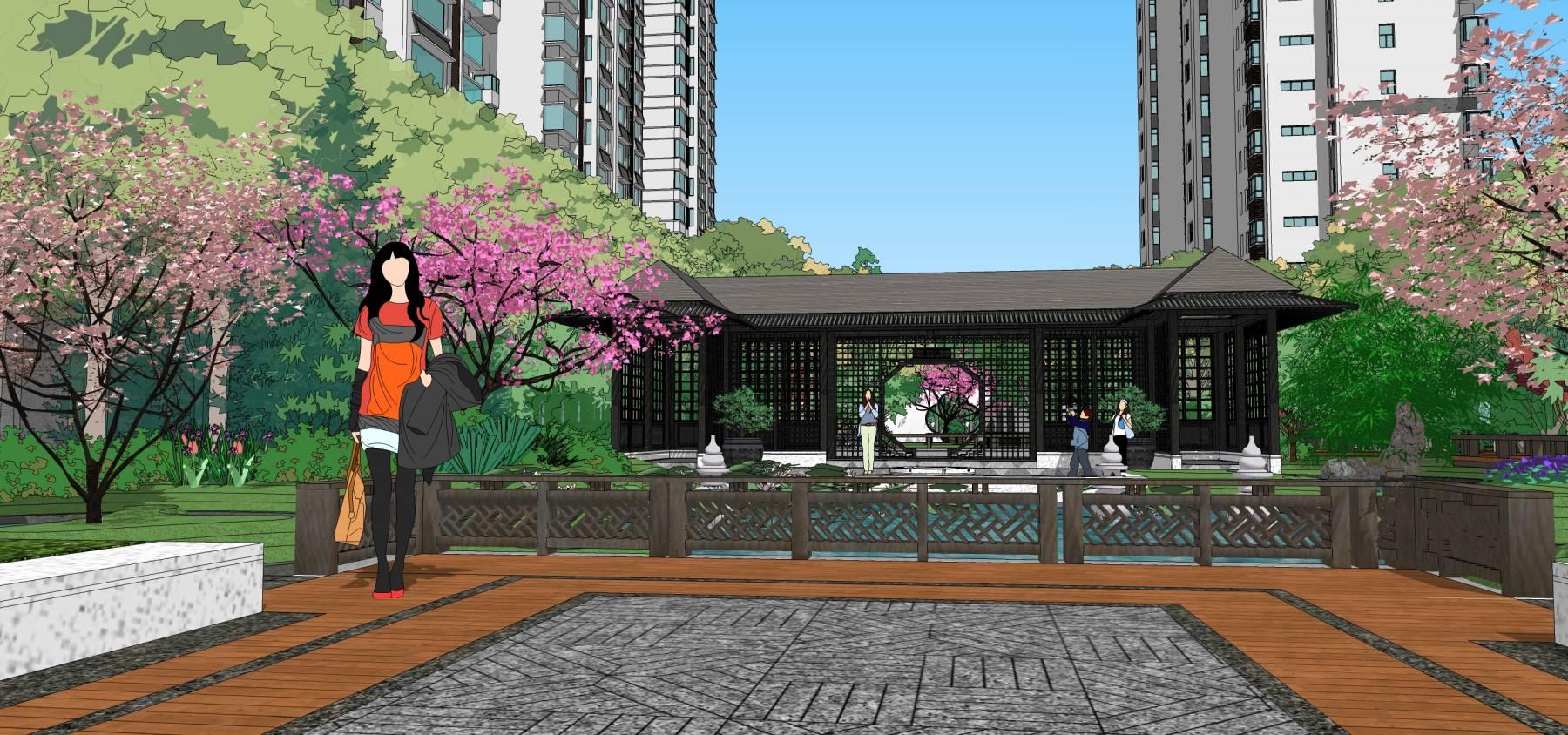 中式小区新中式小区中式入口景观中式场景景观