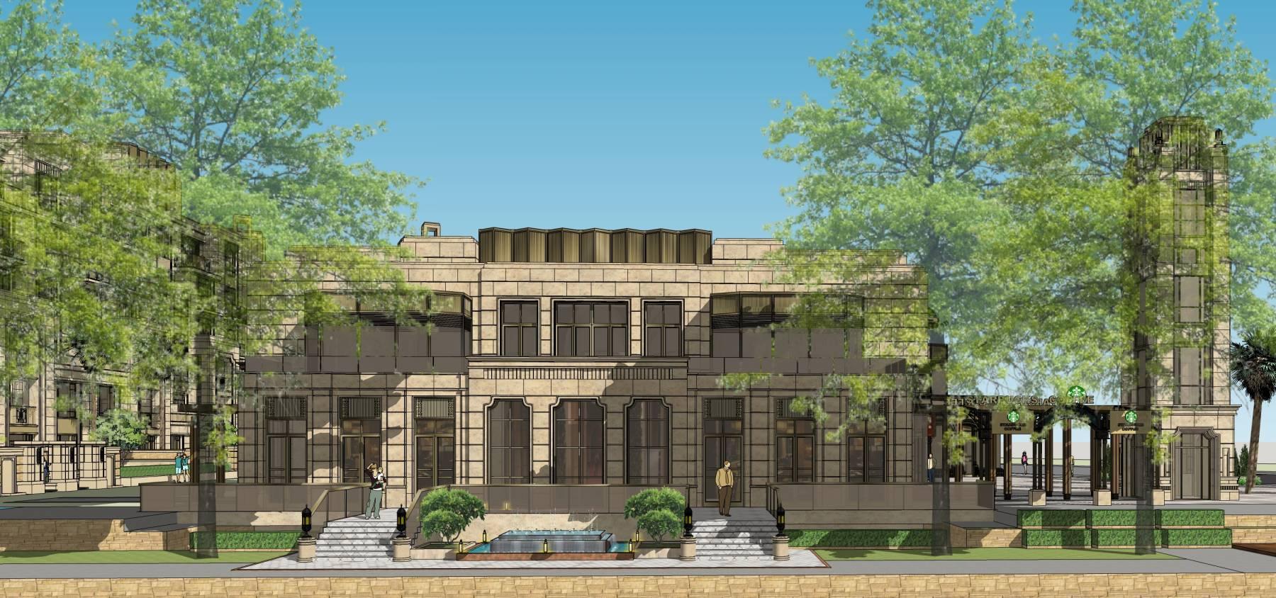 花园洋房su现代风格会所售楼部建筑