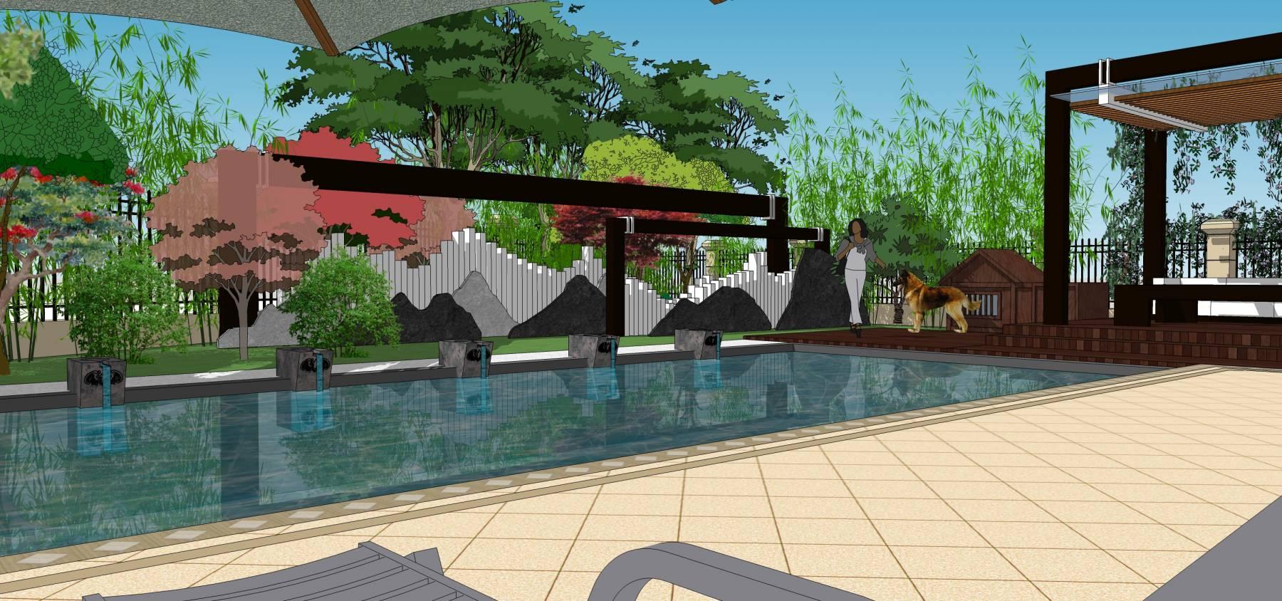 现代简约庭院别墅花园屋顶花园su