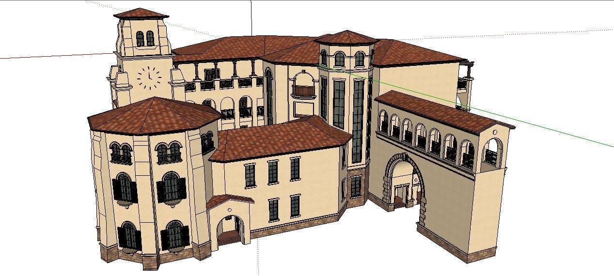 西班牙风格酒店模型