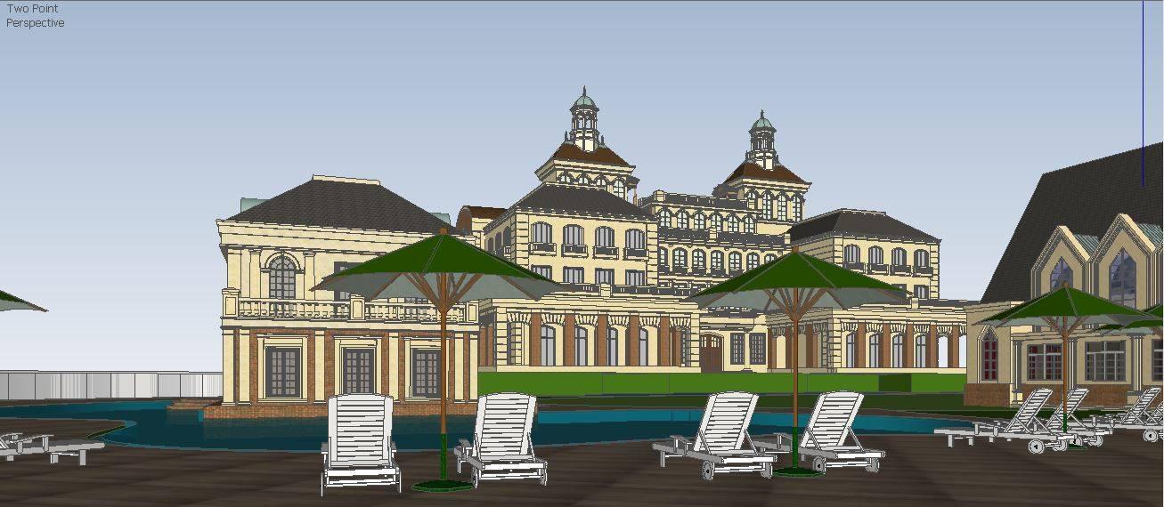 欧式古典酒店模型