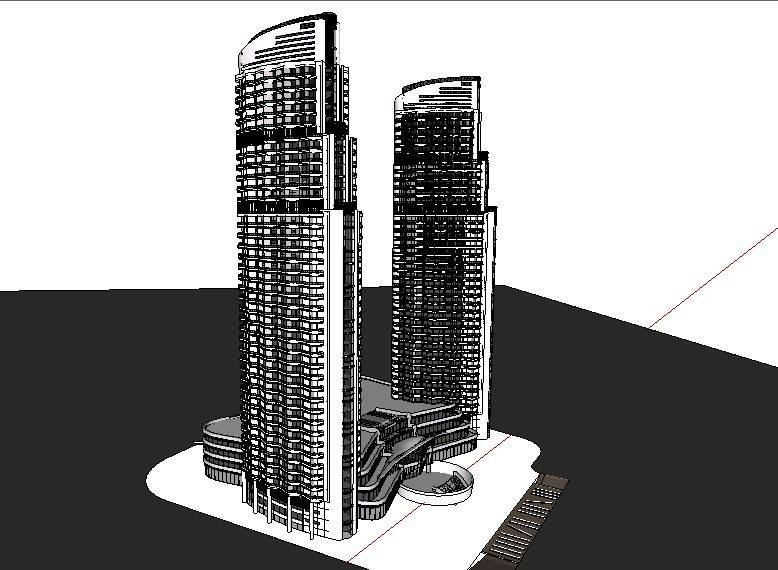 [办公] 高层双塔办公楼