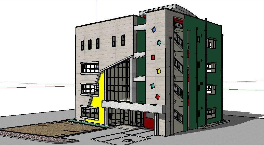 造型独特的四层小楼