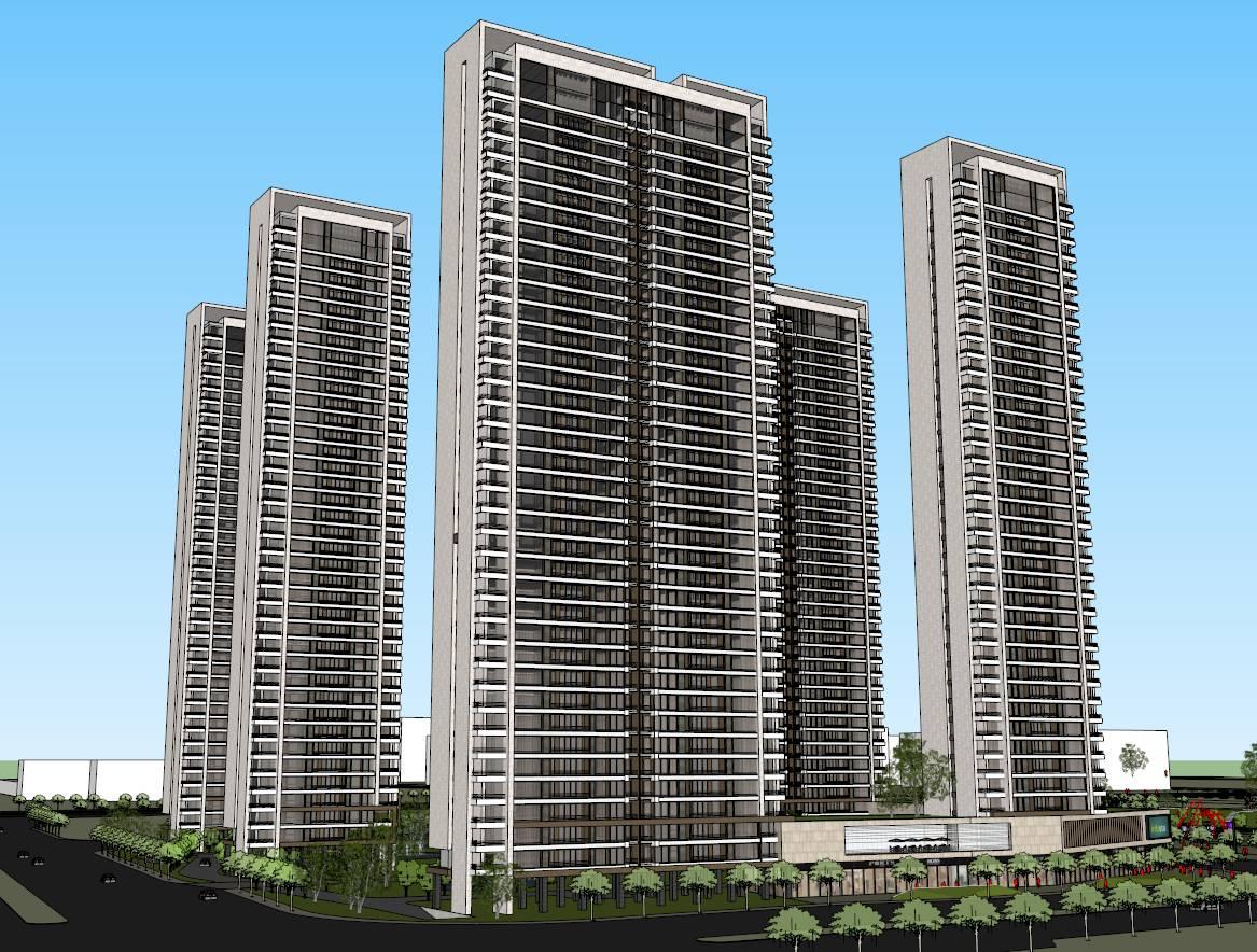 现代风格高层住宅公建化立面