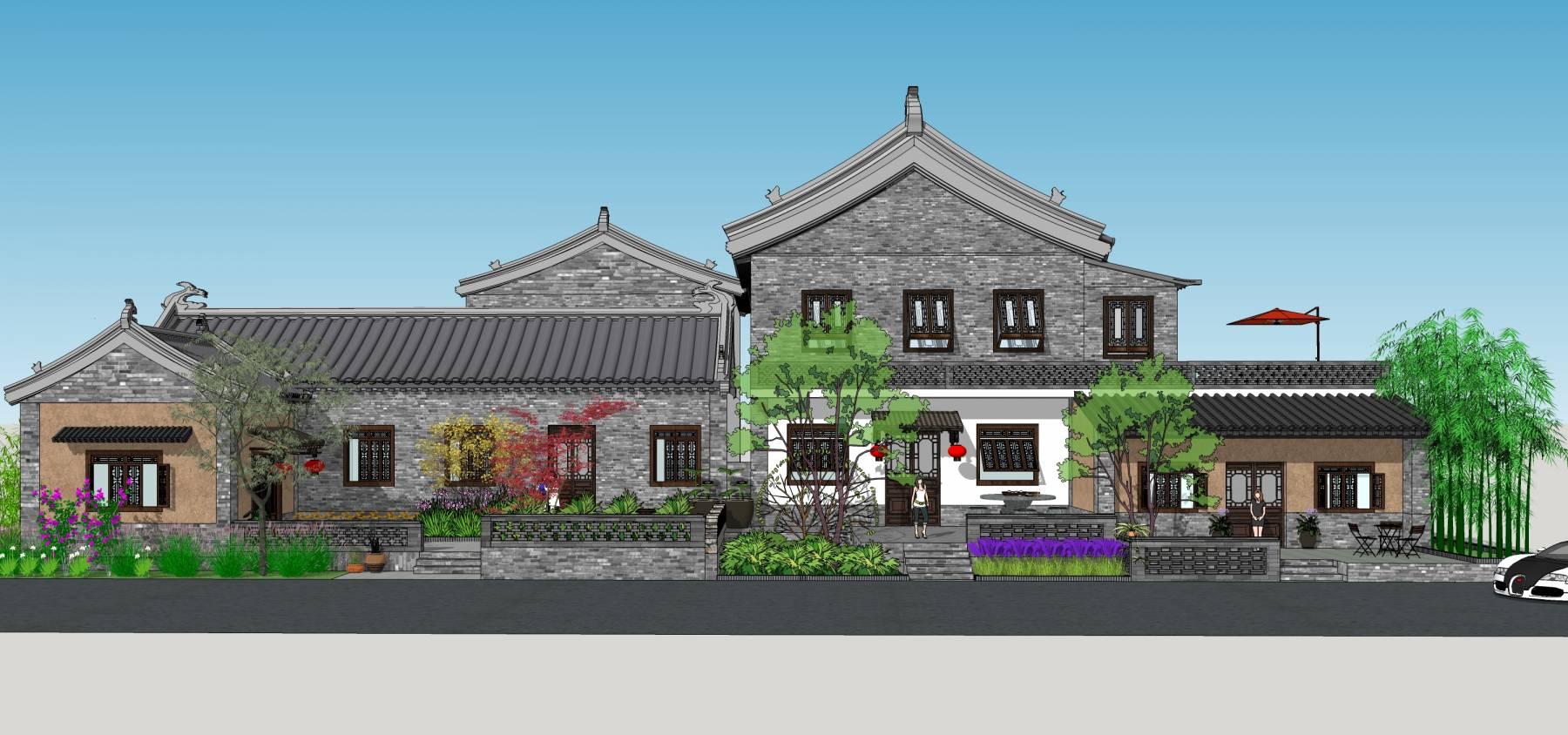 民宿建筑新农村农家乐中式建筑景观设计SU模型