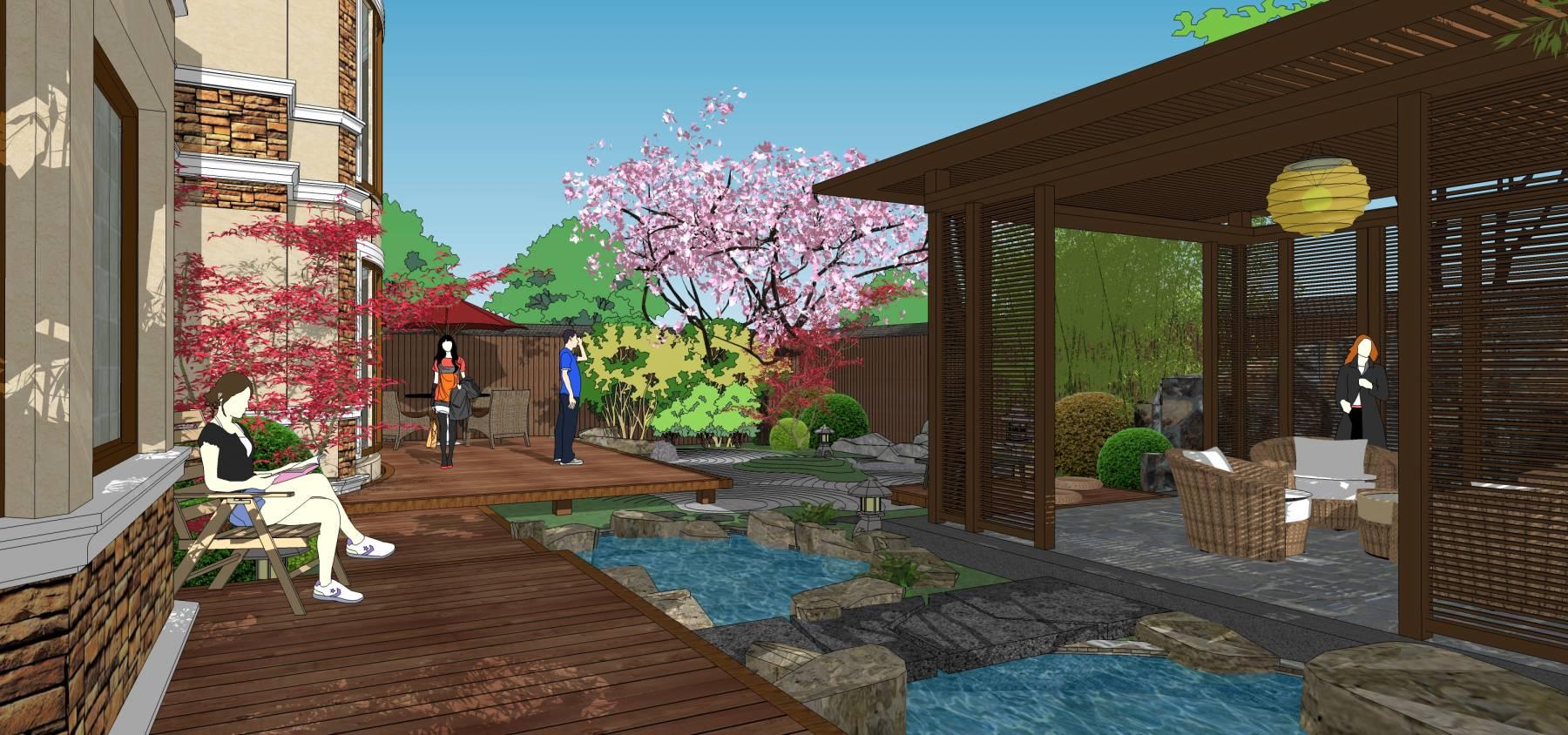 日式小院精模中式别墅
