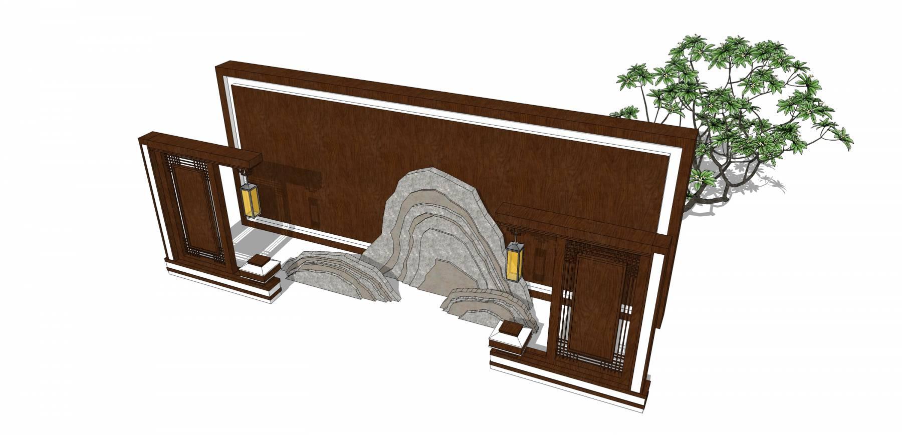 中式景墙山水景墙039