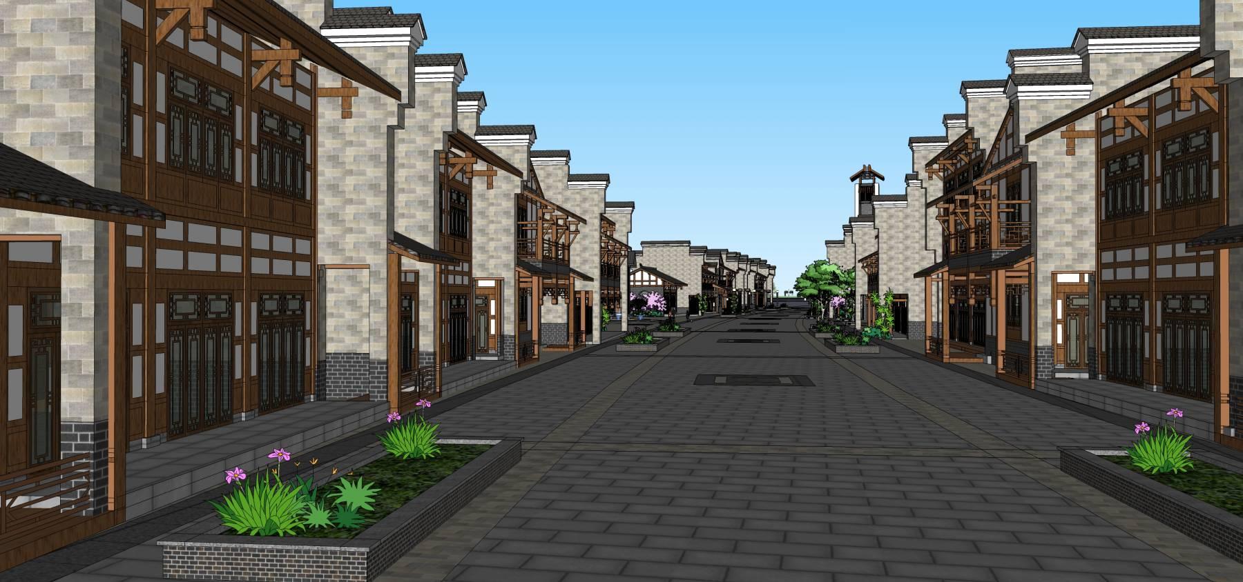新中式商业街古镇商业建筑